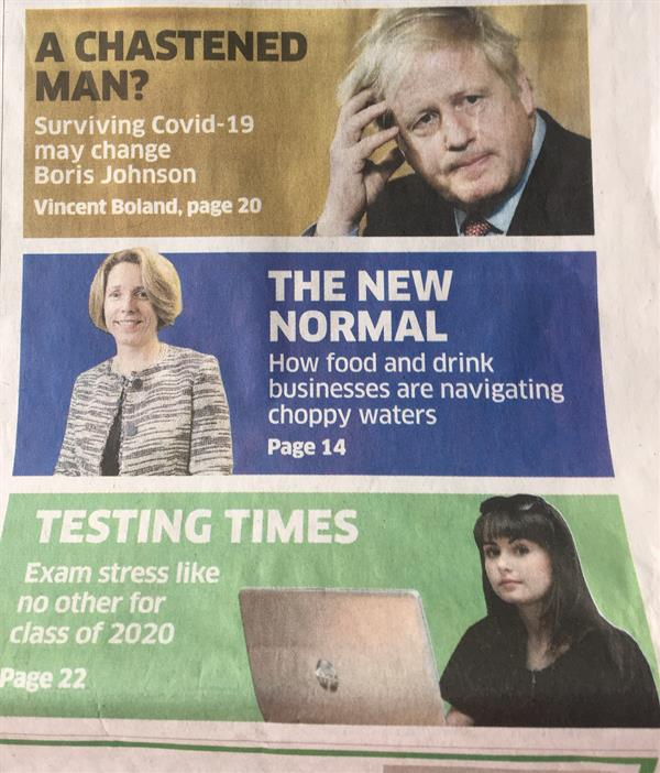 Leah makes the front page of The Sunday Business Post